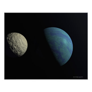 Earth and moon poster