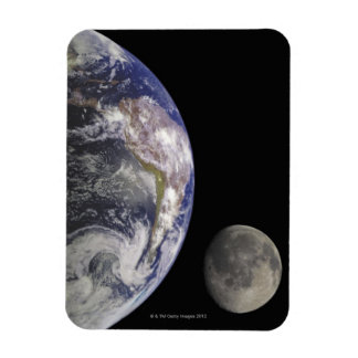 Earth and Moon Rectangle Magnet