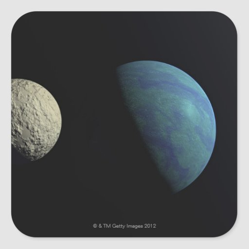Earth and moon square sticker