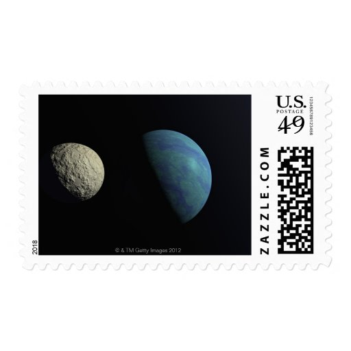 Earth and moon stamps