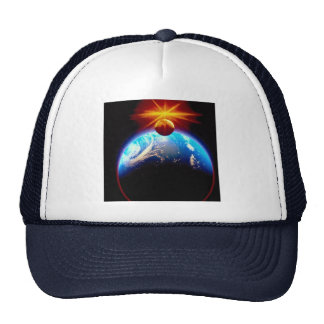 Earth and moon with sun trucker hats