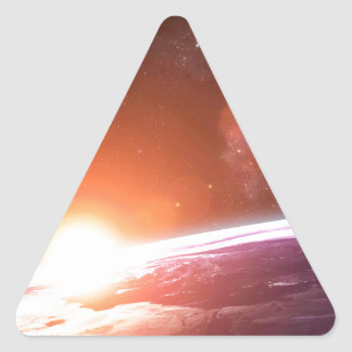 Earth and Rising Sun Triangle Sticker