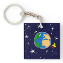 Earth And Satellite Keychain