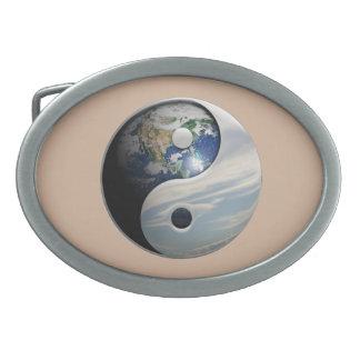 Earth and Sky Yin Yang Oval Belt Buckle