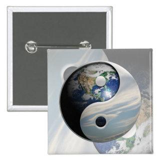 Earth and Sky Yin Yang Pinback Button