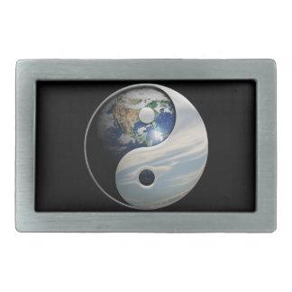 Earth and Sky Yin Yang Rectangular Belt Buckle