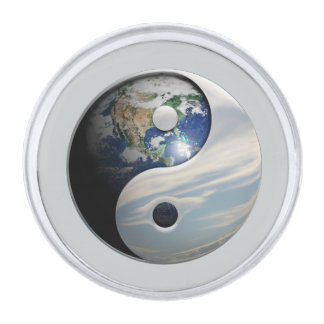 Earth and Sky Yin Yang Silver Finish Lapel Pin