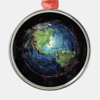 Earth And Space Metal Ornament