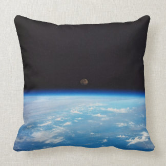 Earth and the Moon Throw Pillows