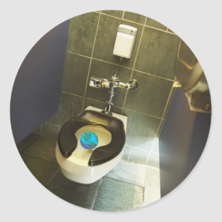 Earth and the Toilet Round Stickers