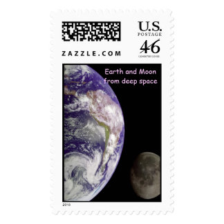 Earth andMoon from deep space Stamp