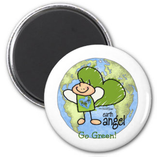 Earth Angel - Go Green 2 Inch Round Magnet