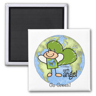 Earth Angel - Go Green 2 Inch Square Magnet