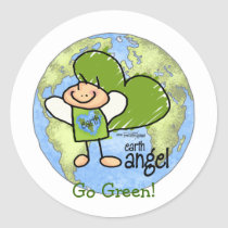 Earth Angel - Go Green Classic Round Sticker