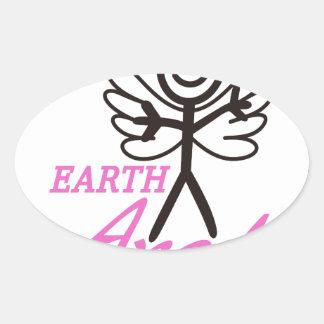 Earth Angel Oval Sticker