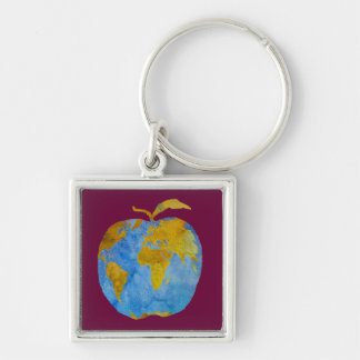 Earth Apple Silver-Colored Square Keychain