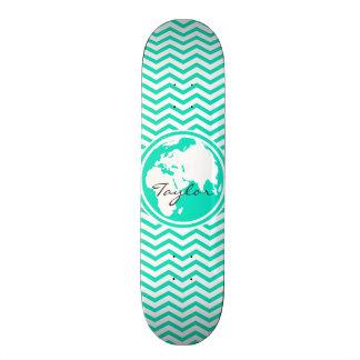 Earth Aqua Green Chevron Skate Deck