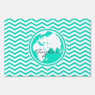 Earth; Aqua Green Chevron Yard Signs