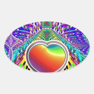 eARTh ART heART Rainbow Fun Oval Sticker