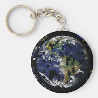 Earth As A Puzzle Keychain