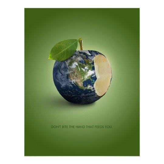 Earth As An Apple Poster Zazzle Com