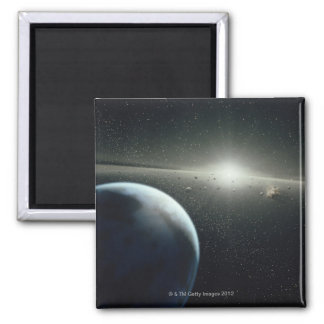 Earth, Asteroid Belt and Star 2 Inch Square Magnet