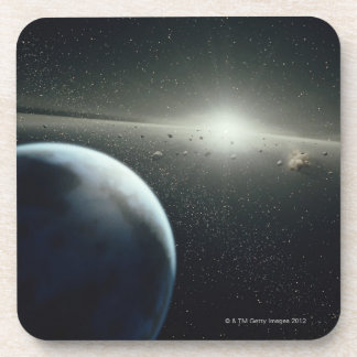 Earth, Asteroid Belt and Star Beverage Coaster