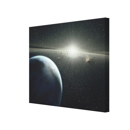 Earth, Asteroid Belt and Star Canvas Print
