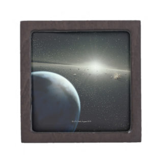Earth, Asteroid Belt and Star Keepsake Box