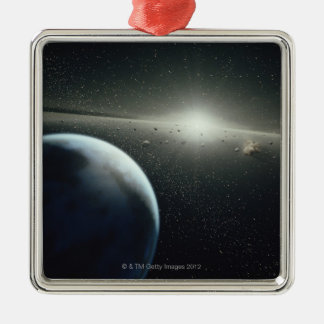Earth, Asteroid Belt and Star Square Metal Christmas Ornament