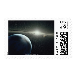 Earth, Asteroid Belt and Star Postage Stamps