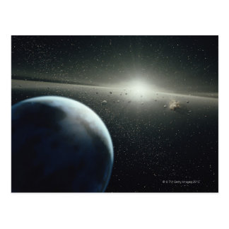 Earth, Asteroid Belt and Star Postcard
