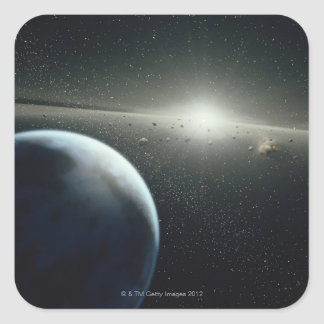 Earth, Asteroid Belt and Star Square Sticker