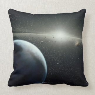 Earth, Asteroid Belt and Star Throw Pillow