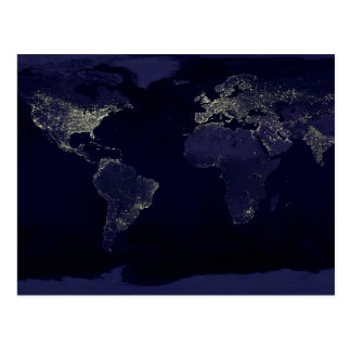 Earth at Night Postcard