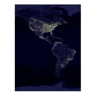 Earth at Night Postcard