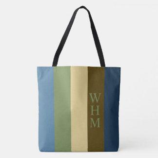Earth Blanket Palette Stripe Monogram Diaper Tote Bag
