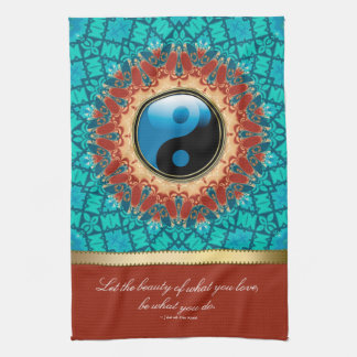 Earth Blue YinYang New Age Art Quote Tea Towel