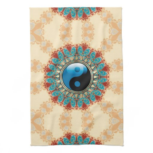 Earth Blue YinYang New Age Flower Tea Towel