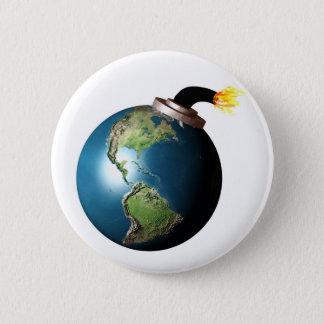 Earth bomb pinback button