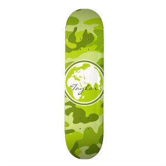 Earth; bright green camo, camouflage skateboard deck