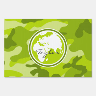 Earth; bright green camo, camouflage lawn sign