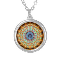 Earth Brown Mandala Pattern Round Necklace