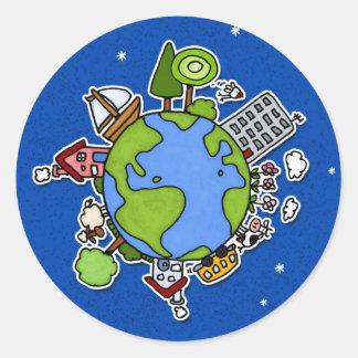 earth button classic round sticker