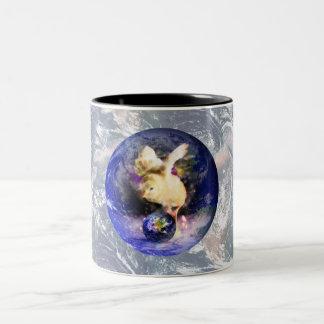 Earth Chick W/Earth Background Two-Tone Coffee Mug