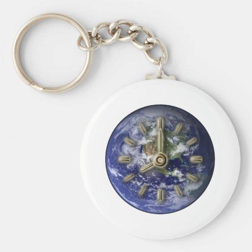 Earth clock basic round button keychain