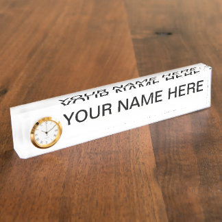 Earth Collections Desk Name Plate w/Clock