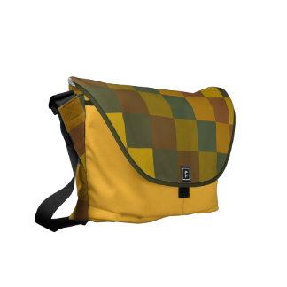 Earth colored checkered on saffron bag. messenger bag