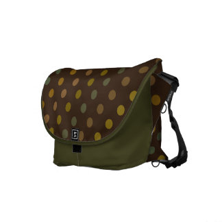 Earth colored polka dots on moss green colored bag