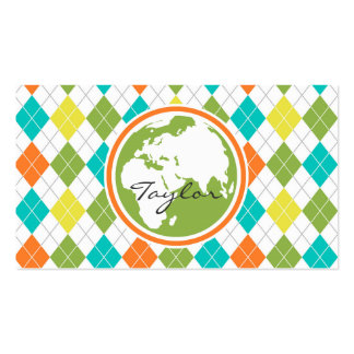 Earth; Colorful Argyle Pattern Business Card